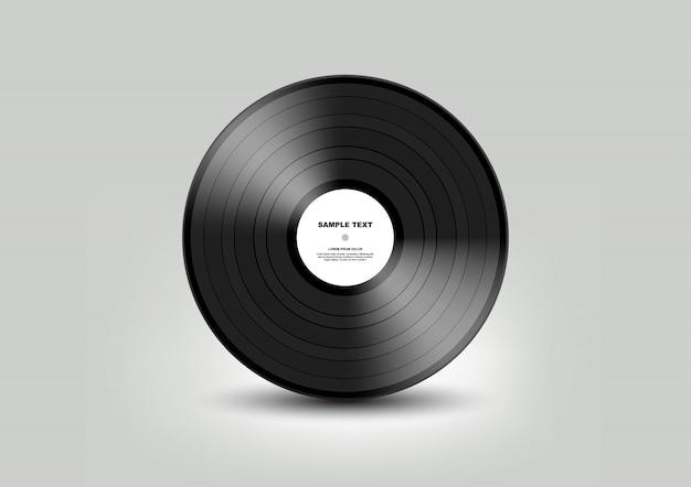 Schwarze schallplatte lokalisiert auf weißem hintergrund, illustration Premium Vektoren