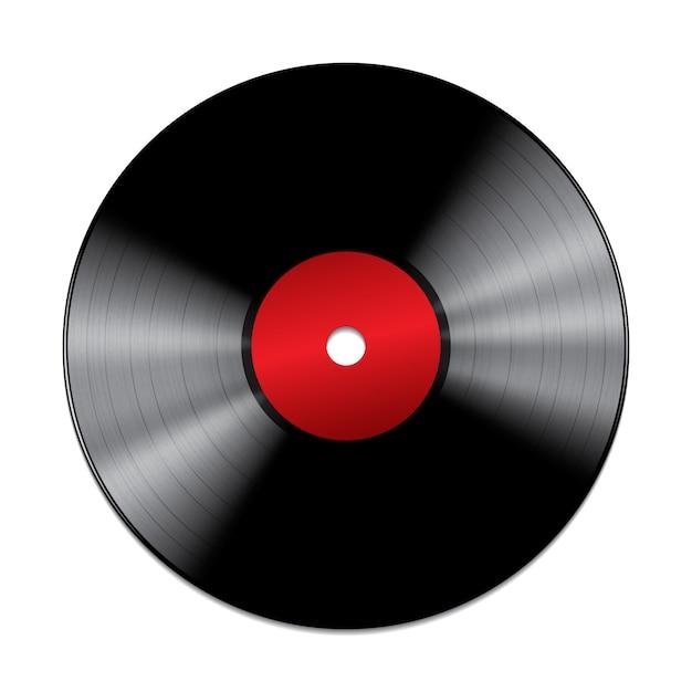 Schwarze schallplatte lokalisiert auf weißem hintergrund Premium Vektoren