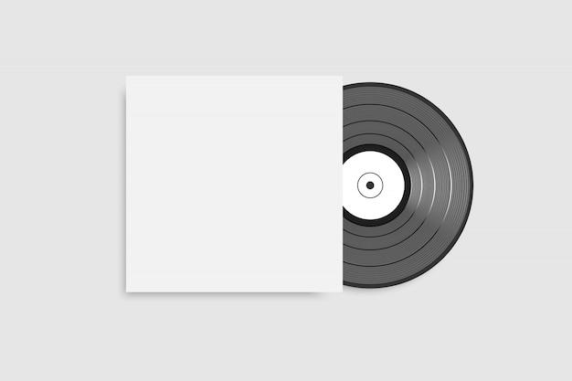 Schwarze schallplatte mit leerem weißen cover Premium Vektoren