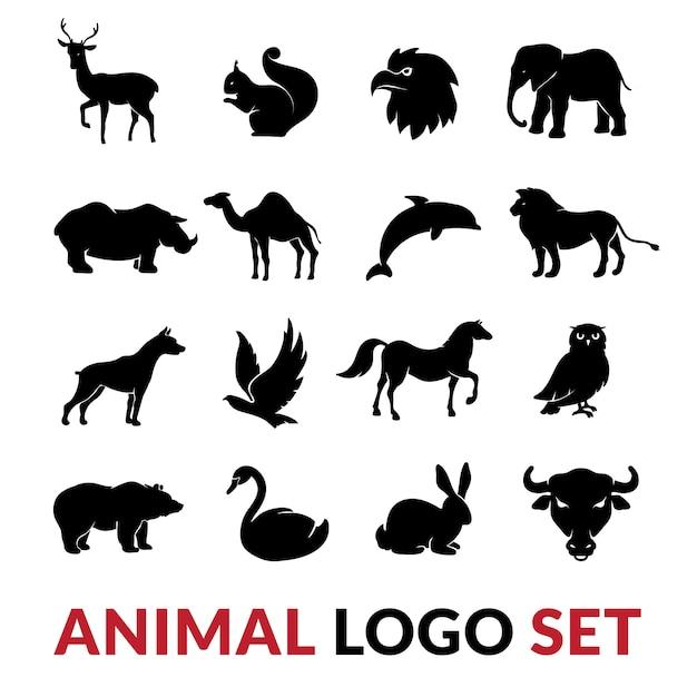 Schwarze schattenbilder der wilden tiere stellten mit lokalisierter illustration des löweelefanten schwaneichhörnchens und des kamels ein Kostenlosen Vektoren
