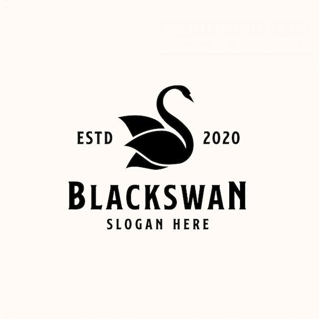 Schwarze schwan-logo-vorlage. vektor-logo Premium Vektoren