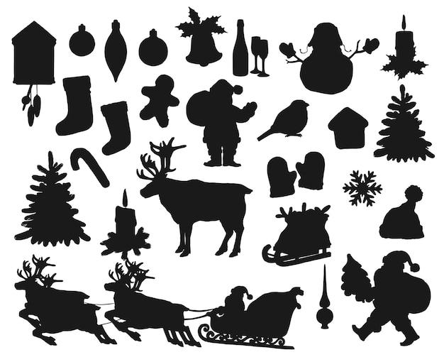 Schwarze schwarze silhouetten isolierten satz. winterurlaub weihnachtsmann, geschenktüte, tanne und stechpalme. weihnachtssocke, vogel, schneeflocke und kerze, weihnachtsball, lebkuchenmann und hirsch Premium Vektoren