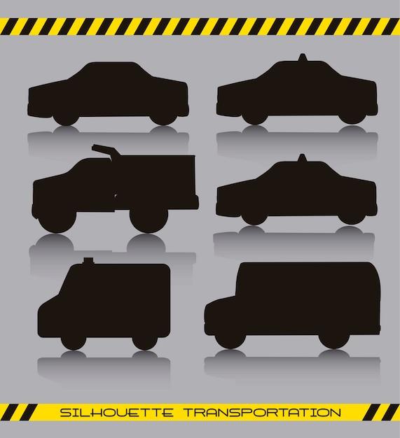 Schwarze silhoette autos über grauer hintergrundvektorillustration Premium Vektoren