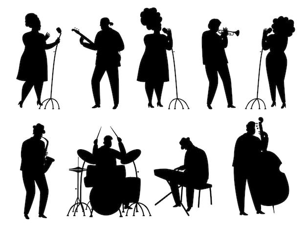 Schwarze silhouette jazzmusiker, sänger und schlagzeuger, pianist und saxophonist Premium Vektoren