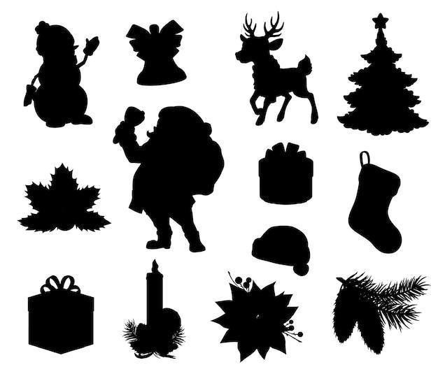 Schwarze silhouetten der weihnachtsferien. weihnachtsbaum-, geschenk- und geschenkboxen, weihnachtsmann, schneemann und rentier, claus-hut, weihnachtsglocke, stechpalmen- und tannenzweige, strumpf, socke, kerze und weihnachtsstern Premium Vektoren