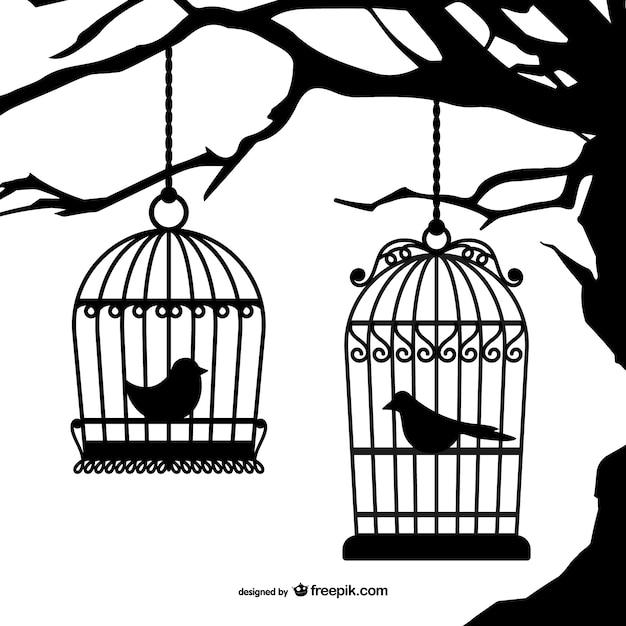 Schwarze silhouetten vogelkäfige Kostenlosen Vektoren