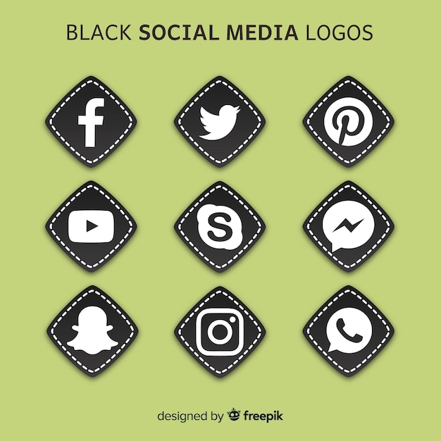 Schwarze social media-logos Kostenlosen Vektoren