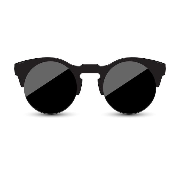 Schwarze sonnenbrille mit dunklem glas auf weißem hintergrund. Premium Vektoren