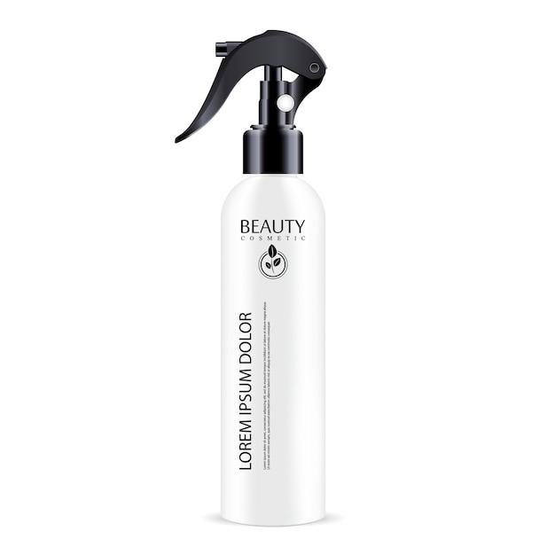 Schwarze sprühkappe der weißen sprüherkosmetikflasche Premium Vektoren