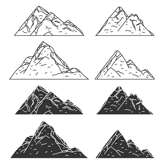 Schwarze symbole der berge stellten lokalisiert auf einem weißen hintergrund ein. Premium Vektoren
