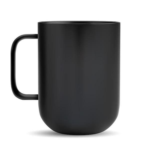Schwarze tasse. keramik kaffee oder teebecher. realistische matte glas teetasse mit griff. Premium Vektoren