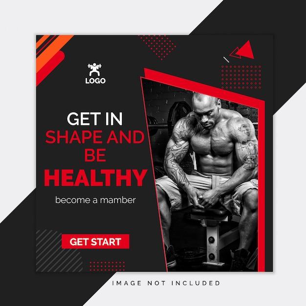 Schwarze turnhalle und eignungssocial media instagram beitragsschablone Premium Vektoren