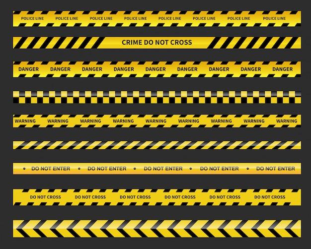 Schwarze und gelbe linie gestreift. polizeiabsperrung. vorsicht und gefahr bänder. Premium Vektoren