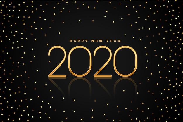 Schwarze und goldene glitter 2020 guten rutsch ins neue jahr-grußkarte Kostenlosen Vektoren