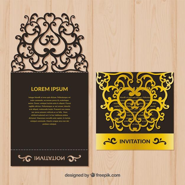 Schwarze und goldene Laserschnittschablone Kostenlose Vektoren