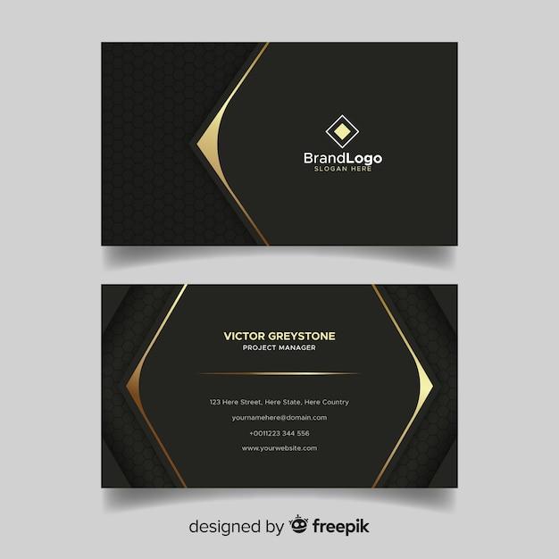 Schwarze und goldene visitenkarte mit logo Kostenlosen Vektoren