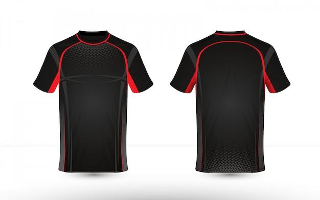 Schwarze und rote layout-e-sport-t-shirt-designschablone Premium Vektoren