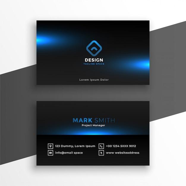 Schwarze visitenkarte mit blauer leuchtender schablone Kostenlosen Vektoren