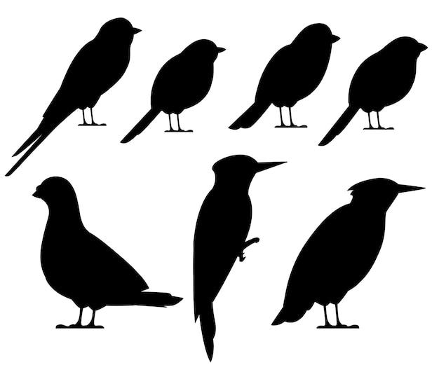 Schwarze vogelschattenbildsammlung. taube, spatz, meise, schwalbe, specht, star, gimpel. vogelikone. illustration auf weißem hintergrund Premium Vektoren