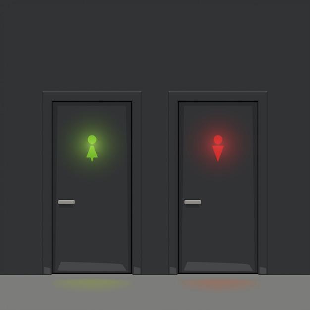 Schwarze wc-türen, die silhouetten leuchten Premium Vektoren