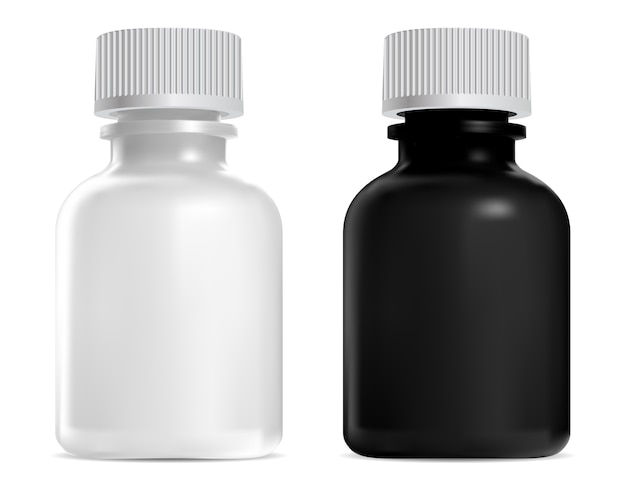 Schwarze, weiße glasflasche, schraubdeckel. medizinisches sirupglasmodell. realistischer kristallbehälter für landwirtschaftliche medikamente. homöopathie tinktur fläschchen, suspension medikamentendosis Premium Vektoren