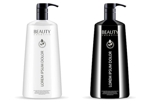 Schwarze weiße kosmetische pumpspenderflaschen eingestellt Premium Vektoren