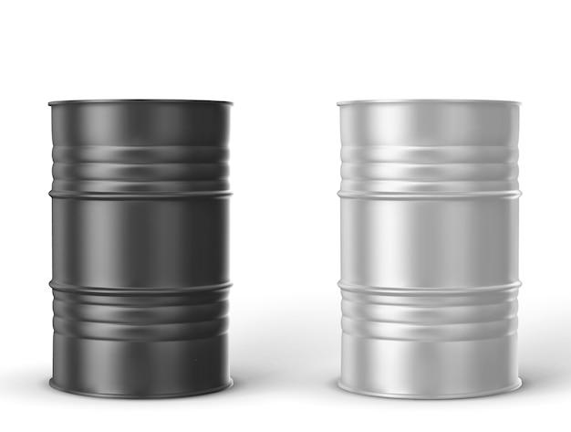 Schwarze, weiße metallfässer auf weißem hintergrund Premium Vektoren