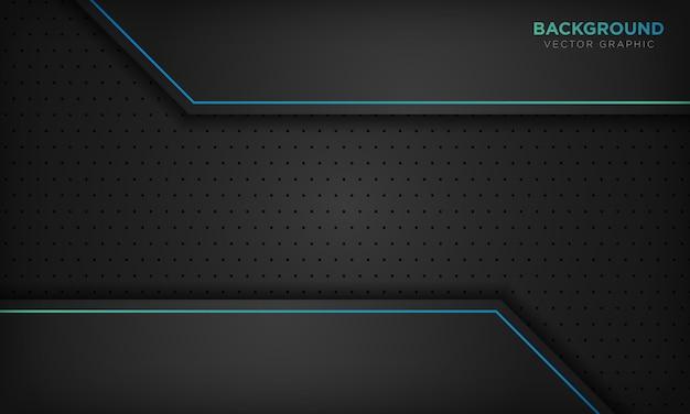 Schwarzer abstrakter hintergrund mit blauer linie steigungsdekoration. Premium Vektoren
