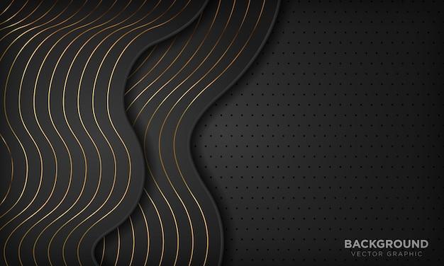 Schwarzer abstrakter wellenluxushintergrund mit goldenen linien. Premium Vektoren