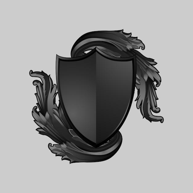 Schwarzer barocker schildelementvektor Kostenlosen Vektoren