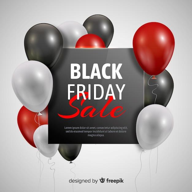 Schwarzer freitag-ballonverkaufshintergrund in schwarzem und in rotem Kostenlosen Vektoren