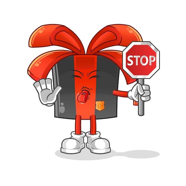 Schwarzer freitag, der stoppschildkarikatur hält. cartoon maskottchen Premium Vektoren