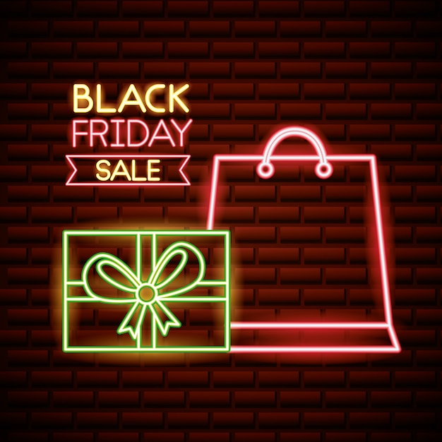 Schwarzer freitag-einkaufsverkauf in den neonlichtern Kostenlosen Vektoren