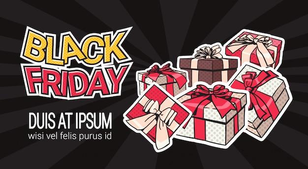 Schwarzer freitag-fahnen-entwurf mit geschenk und geschenkboxen auf hintergrund-einkaufsschablonen-plakat mit c Premium Vektoren