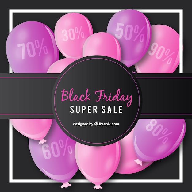 Schwarzer freitag-hintergrund mit rosa ballons Kostenlosen Vektoren
