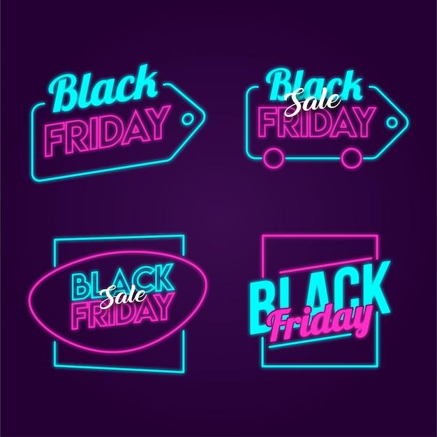 Schwarzer freitag-neonaufkleber Premium Vektoren