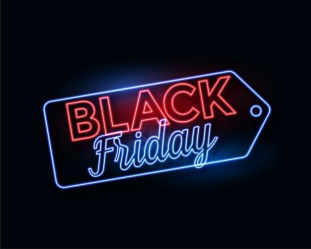 Schwarzer freitag-tag in glühenden neonlichtern Kostenlosen Vektoren