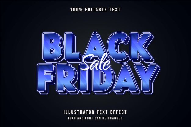 Schwarzer freitag verkauf, bearbeitbarer texteffekt blaue abstufung lila neon-textstil Premium Vektoren