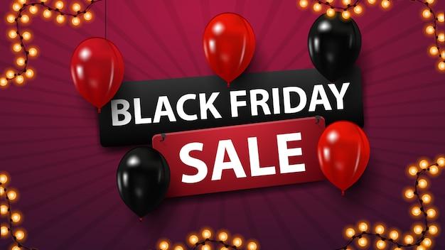 Schwarzer freitag-verkauf, rabattfahne mit den roten und schwarzen ballonen Premium Vektoren