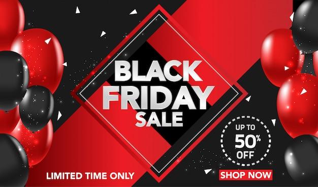 Schwarzer freitag-verkaufs-fahnenhintergrund mit den roten und schwarzen ballons und confeti Premium Vektoren