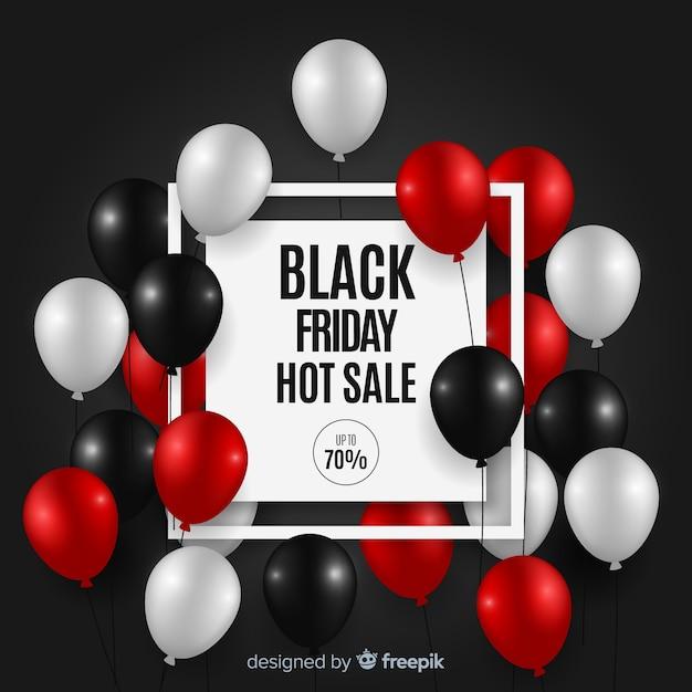 Schwarzer freitag-verkaufshintergrund mit ballonen Kostenlosen Vektoren
