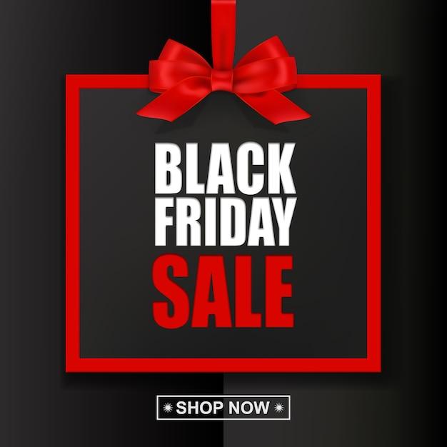 Schwarzer freitag-verkaufstext mit rotem rahmen und bogen auf schwarzem hintergrund Premium Vektoren