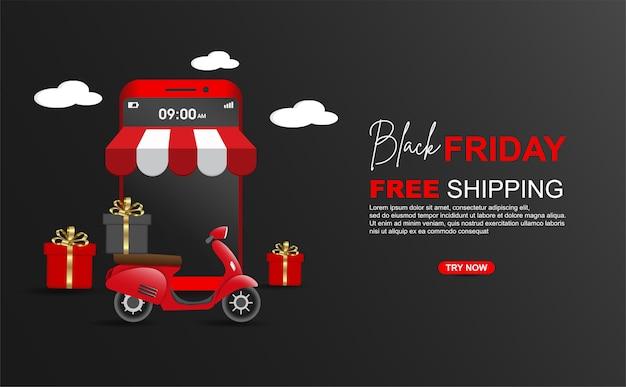 Schwarzer freitag versandkostenfrei paket mit roller auf handy-banner-vorlage. Premium Vektoren
