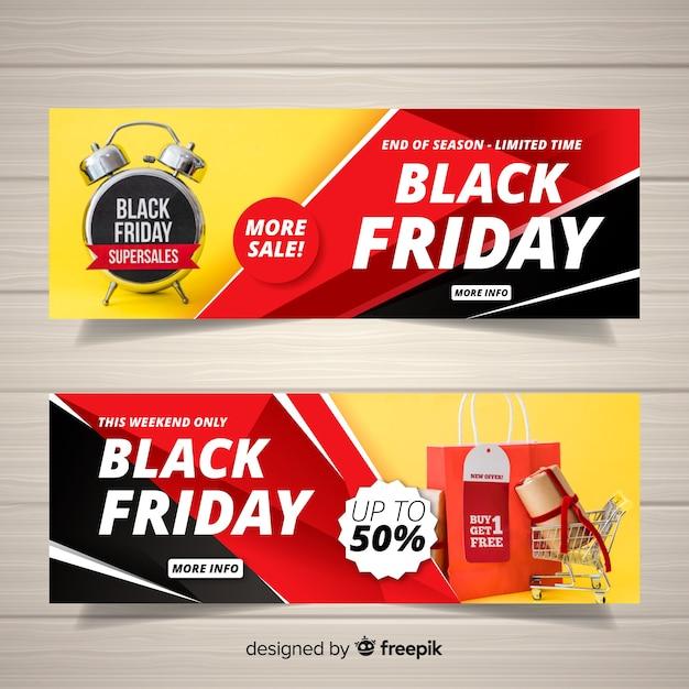 Schwarzer freitag-web-banner Kostenlosen Vektoren