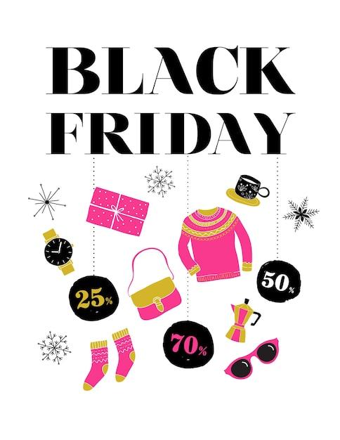 Schwarzer freitag, weihnachtsverkaufsfahne, plakatschablone und hintergrund Premium Vektoren
