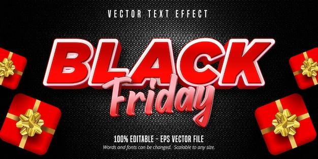 Schwarzer freitagstext, bearbeitbarer texteffekt Premium Vektoren