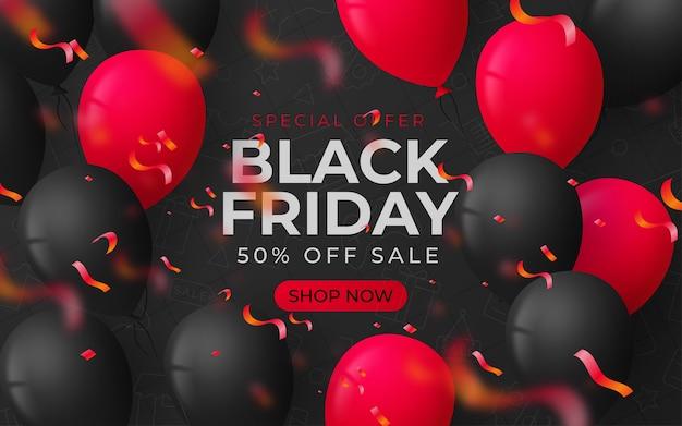Schwarzer freitagverkaufshintergrund mit luftballons und serpentin Premium Vektoren