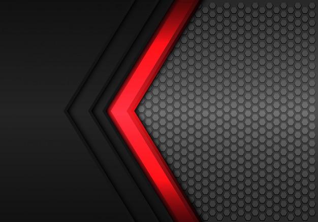 Schwarzer hexagonmaschenhintergrund der roten energiepfeilrichtung. Premium Vektoren