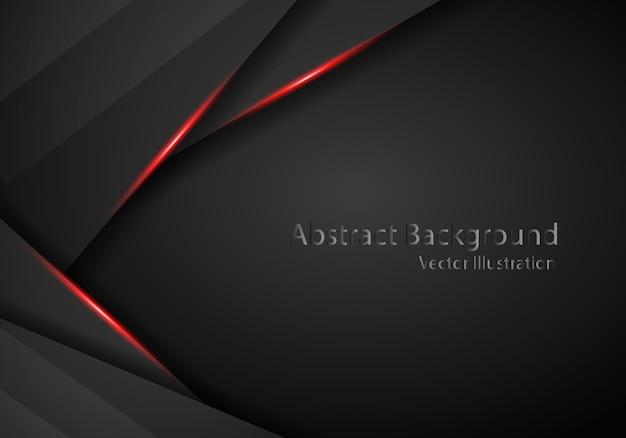 Schwarzer hintergrund der technologie mit roten streifen des kontrastes. Premium Vektoren