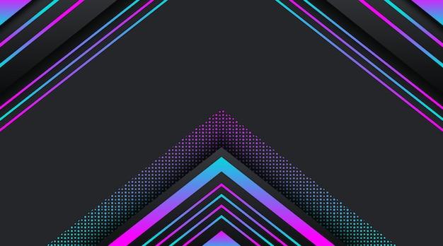 Schwarzer hintergrund mit geometrischer form des steigungsneonfunkelns Premium Vektoren